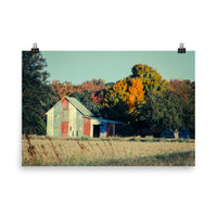 Patriotic Barn in Field Cross Processed Landscape Photo Loose Wall Art Prints  - PIPAFINEART