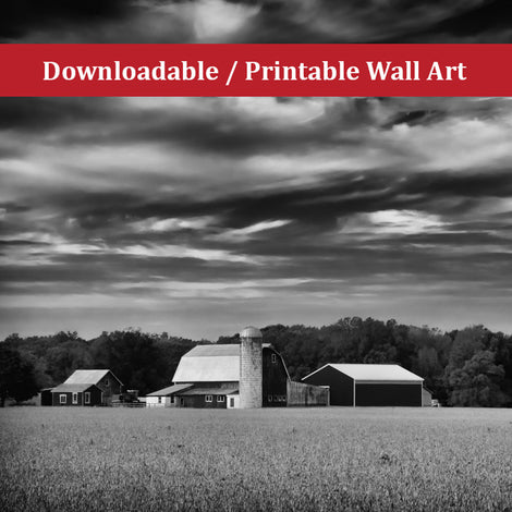 Red Barn in Golden Field Black and White Landscape Photo DIY Wall Decor Instant Download Print - Printable