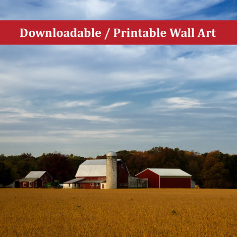Red Barn in Golden Field Traditional Color Landscape Photo DIY Wall Decor Instant Download Print - Printable
