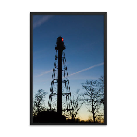 Reedy Point Rear Lighthouse Silhouette Urban Landscape Photo Framed Wall Art Print