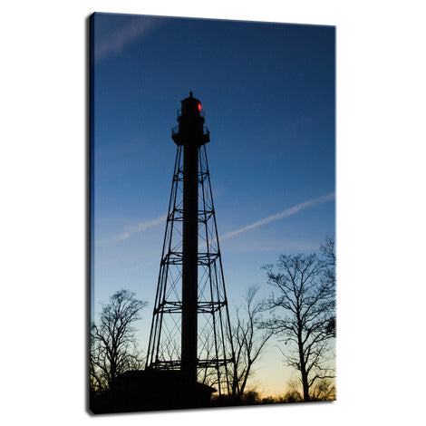 Reedy Point Rear Lighthouse Silhouette Night Photo Fine Art Canvas Wall Art Prints