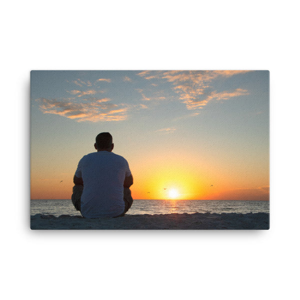 Reflections of The Day Coastal Sunset Landscape Photo Canvas Wall Art Print  - PIPAFINEART
