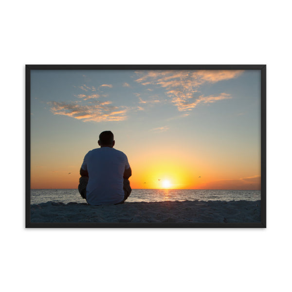 Reflections of The Day Coastal Sunset Landscape Photo Framed Wall Art Print  - PIPAFINEART