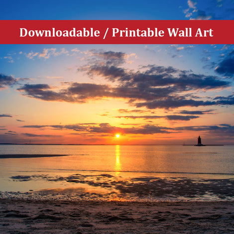 Sunset at Breakwater Lighthouse Landscape Photo DIY Wall Decor Instant Download Print - Printable