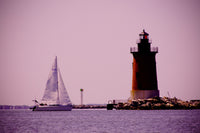 Sailing in the Bay Beach Coastal Landscape Photo Fine Art Canvas Wall Art Prints  - PIPAFINEART