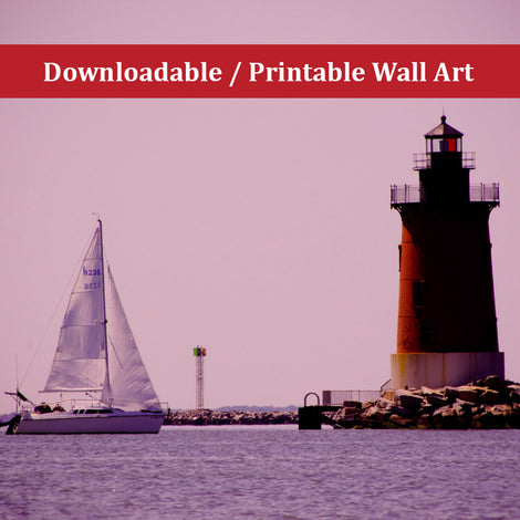 Sailing in the Bay Landscape Photo DIY Wall Decor Instant Download Print - Printable