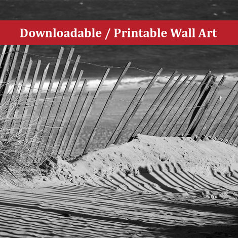 Sandy Beach Fence Landscape Photo DIY Wall Decor Instant Download Print - Printable
