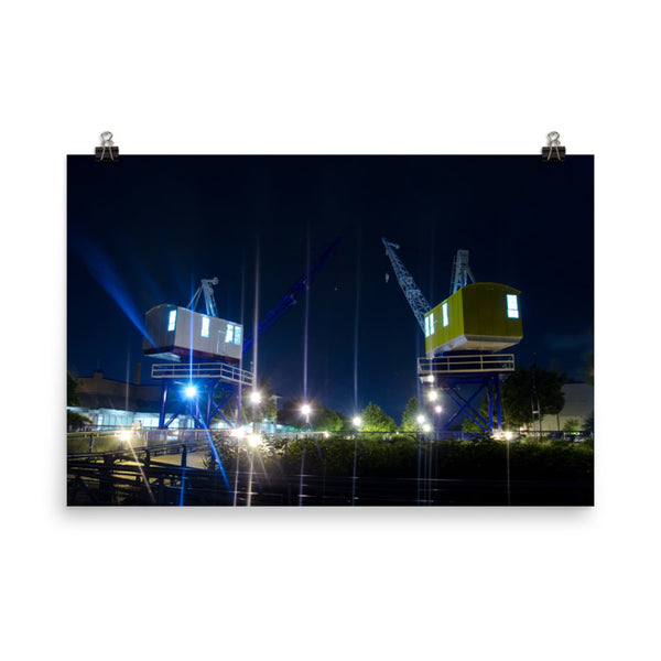 Shining Cranes At Night Urban Landscape Loose Unframed Wall Art Prints  - PIPAFINEART