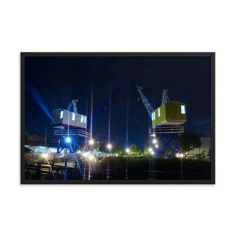 Shining Cranes At Night Urban Landscape Photo Framed Wall Art Print