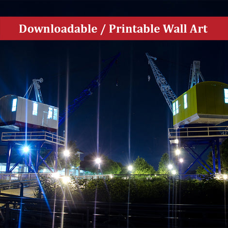 Shining Cranes at Night Urban Night Landscape Photo DIY Wall Decor Instant Download Print - Printable