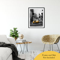 "Shining Taxi Cab - Black and White Abstract Photo Fine Art Canvas & Unframed Wall Art Prints 24"" x 36"" / Classic Paper - Unframed - PIPAFINEART"