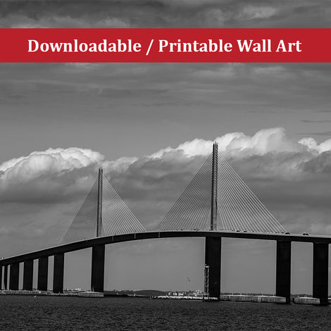 Skyway Bridge Black and White Landscape Photo DIY Wall Decor Instant Download Print - Printable