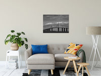 "Skyway Bridge Black and White Coastal Landscape Photo Fine Art Canvas Wall Art Prints 24"" x 36"" / Canvas Fine Art - PIPAFINEART"