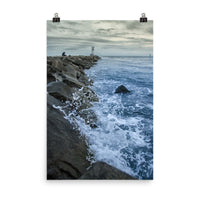 Splashing on the Jetty Landscape Photo Loose Wall Art Print  - PIPAFINEART