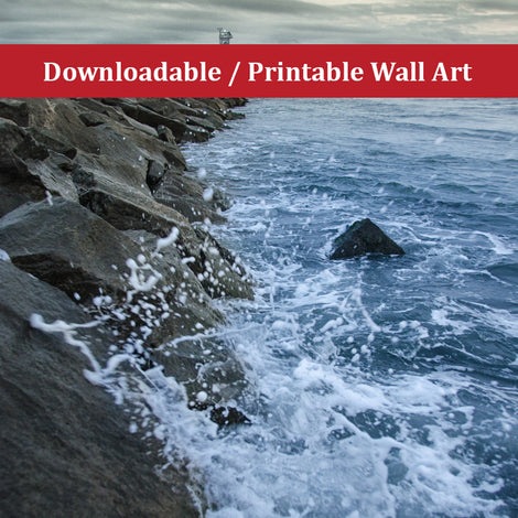 Splashing on the Jetty Landscape Photo DIY Wall Decor Instant Download Print - Printable