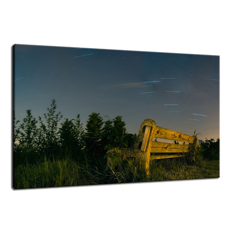 Star Trails and Park Bench Night Photo Fine Art Canvas Wall Art Prints