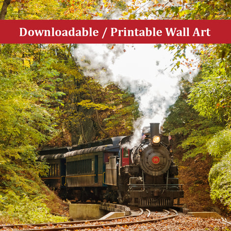 Steam Train with Autumn Foliage Landscape Photo DIY Wall Decor Instant Download Print - Printable
