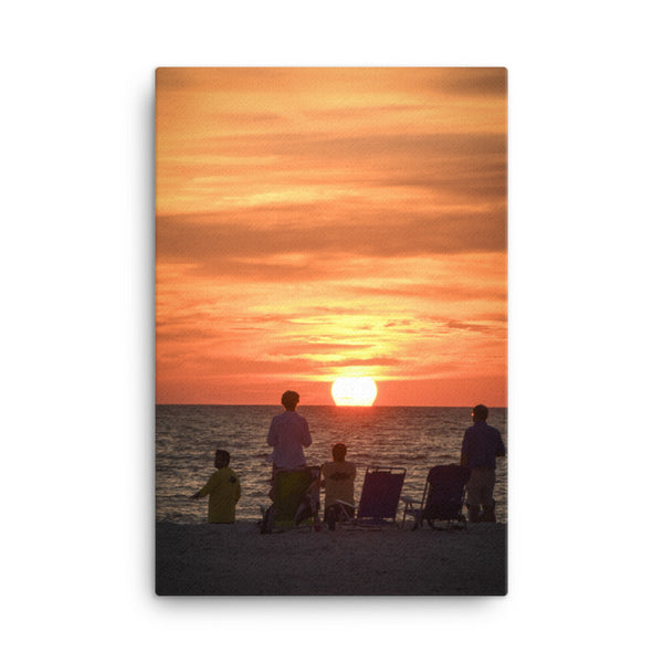 Summer Spectators Coastal Sunset Landscape Photo Canvas Wall Art Print  - PIPAFINEART