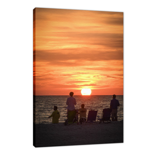 Summer Spectators Coastal Sunset Landscape Fine Art Canvas Prints
