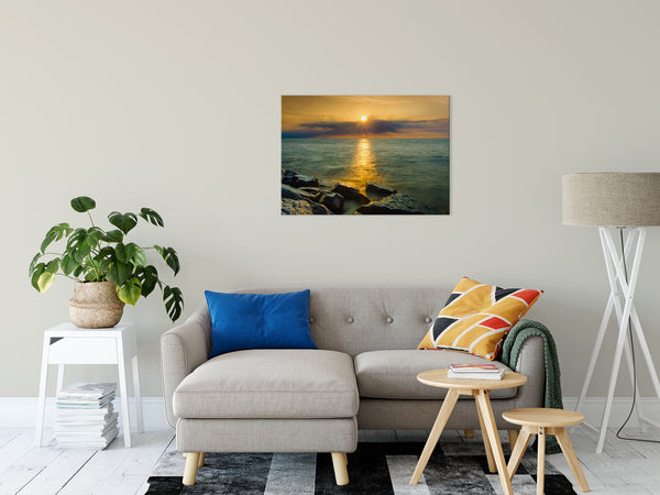 Coastal Landscape Photograph Sun Ray on the Water Beach Art - Fine Art Canvas Prints - Home Decor Wall Art Prints Unframed