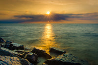 Sun Ray on the Water Coastal Landscape Photograph Fine Art Canvas & Unframed Wall Art Prints - PIPAFINEART