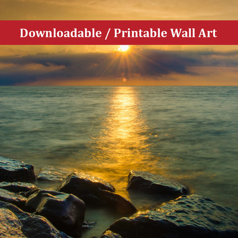 Sun Ray on the Water Landscape Photo DIY Wall Decor Instant Download Print - Printable