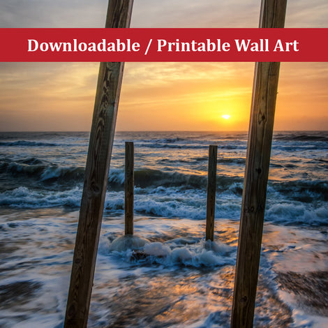 Sunrise Between the Pillars Landscape Photo DIY Wall Decor Instant Download Print - Printable