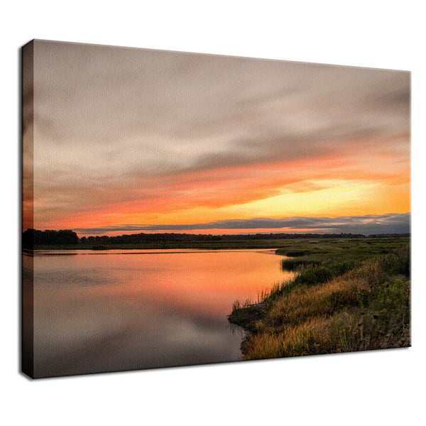 Sunset Over Woodland Marsh Landscape Photo Fine Art Canvas Wall Art Prints  - PIPAFINEART