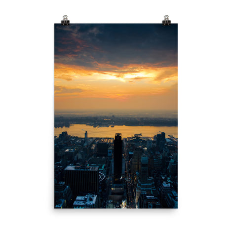 Sunset Over NYC Urban Landscape Loose Unframed Wall Art Prints