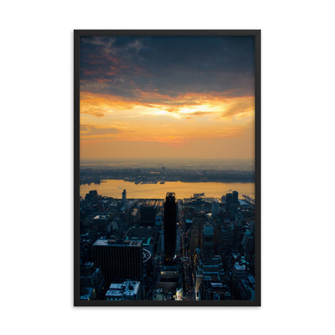 Sunset Over NYC Urban Landscape Photo Framed Wall Art Print