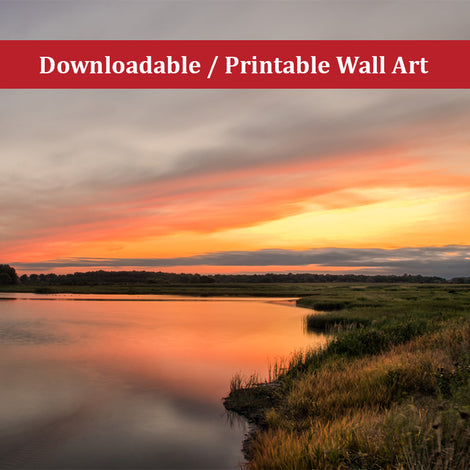 Sunset Over Woodland Marsh Landscape Photo DIY Wall Decor Instant Download Print - Printable