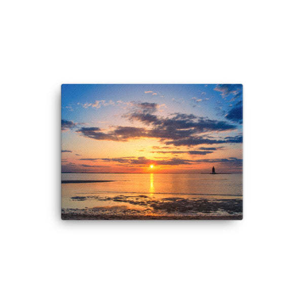 Sunset at Breakwater Lighthouse Coastal Landscape Canvas Wall Art Prints