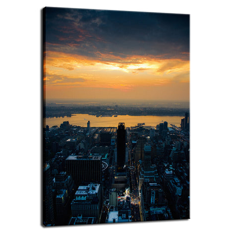 Sunset Over New York City Night Photo Fine Art Canvas Wall Art Prints