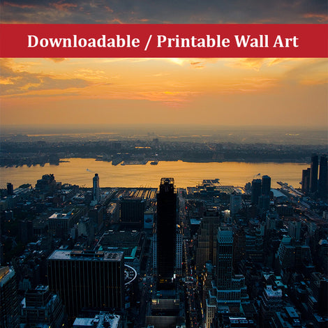 Sunset Over NYC Urban Night Landscape Photo DIY Wall Decor Instant Download Print - Printable