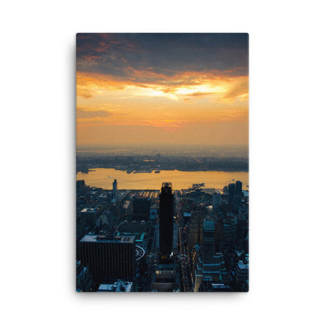 Sunset Over NYC Urban Landscape Traditional Canvas Wall Art Print
