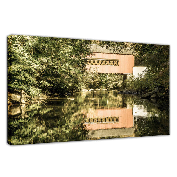 The Reflections of Wooddale Covered Bridge Aged Fine Art Canvas & Unframed Wall Art Prints - PIPAFINEART