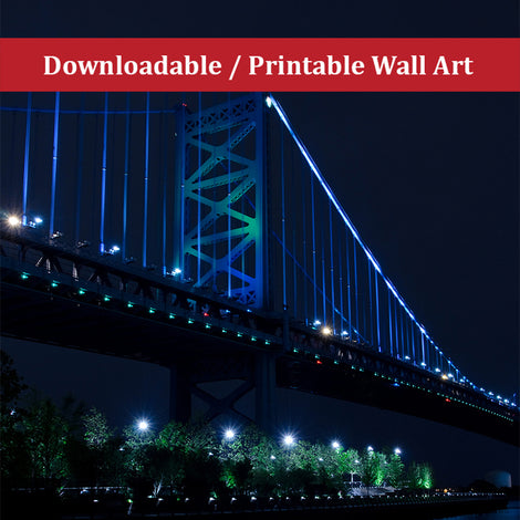 The Ben Franklin Bridge 3 Urban Night Landscape Photo DIY Wall Decor Instant Download Print - Printable