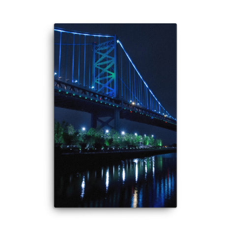 The Ben Franklin Bridge 3 Urban Landscape Traditional Canvas Wall Art Print