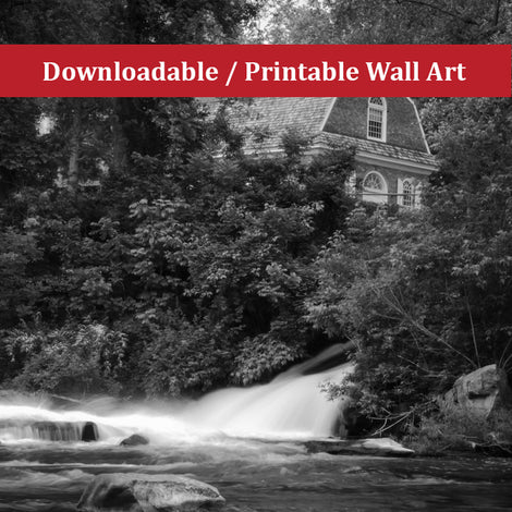 The Brandywine River and First Presbyterian Church Black & White Instant Download Print - Printable
