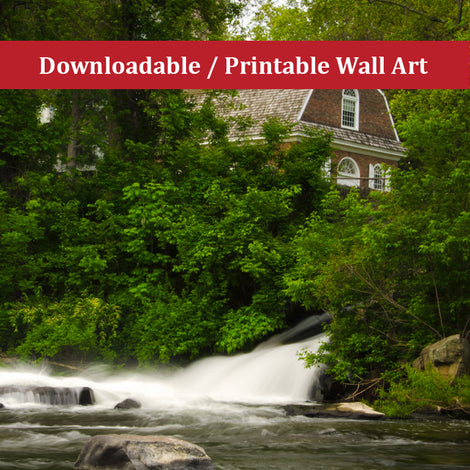 The Brandywine River and First Presbyterian Church Color Landscape Photo DIY Wall Decor Instant Download Print - Printable