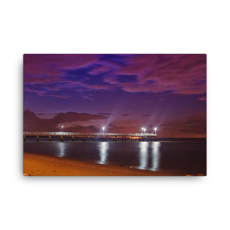 The Pier at Woodland Beach Coastal Urban Landscape Traditional Canvas Wall Art Print