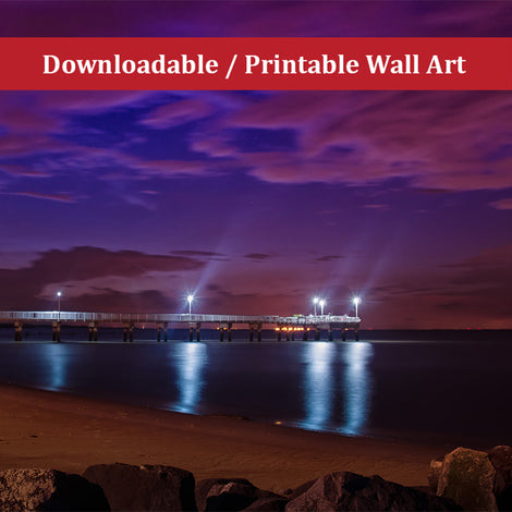 The Pier at Woodland Beach Urban Night Landscape Photo DIY Wall Decor Instant Download Print - Printable