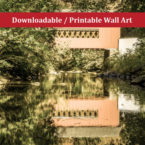 The Reflection of Wooddale Covered Bridge Aged Landscape Photo DIY Wall Decor Instant Download Print - Printable