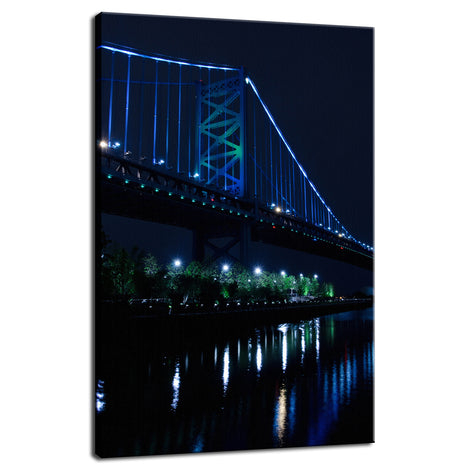 The Ben Franklin Bridge 3 Night Photo Fine Art Canvas Wall Art Prints