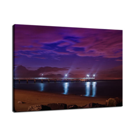 The Pier at Woodland Beach Night Photo Fine Art Canvas Wall Art Prints