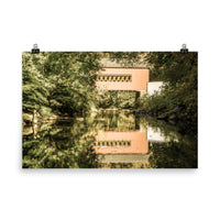 The Reflection of Wooddale Covered Bridge Aged Landscape Photo Loose Wall Art Prints  - PIPAFINEART