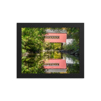 The Reflections of Wooddale Covered Bridge Framed Photo Paper Wall Art Prints  - PIPAFINEART