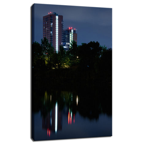 The Riverfront 4 Night Photo Fine Art Canvas Wall Art Prints
