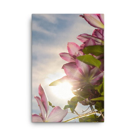 Towering Clematis Floral Nature Canvas Wall Art Prints