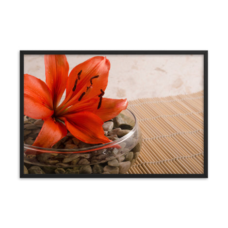 Tranquil Lily Floral Nature Photo Framed Wall Art Print